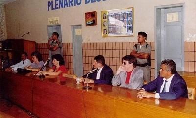 Imagem interna da Câmara Municipal por volta de 1990.