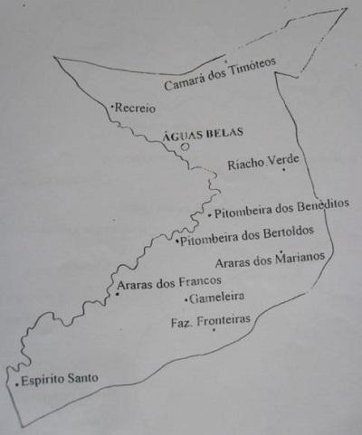 Mapa do Distrito de Águas Belas.