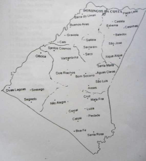 Mapa do Distrito de Domingos da Costa.