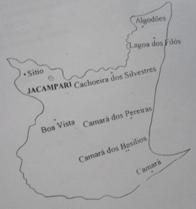 Mapa do Distrito de Jacampari.