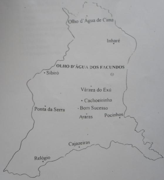 Mapa do Distrito de Olho d'Água dos Facundos.