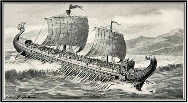 Barco fenício singrando os mares.