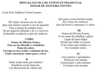 Hino da EEF Osmar de Oliveira Fontes.