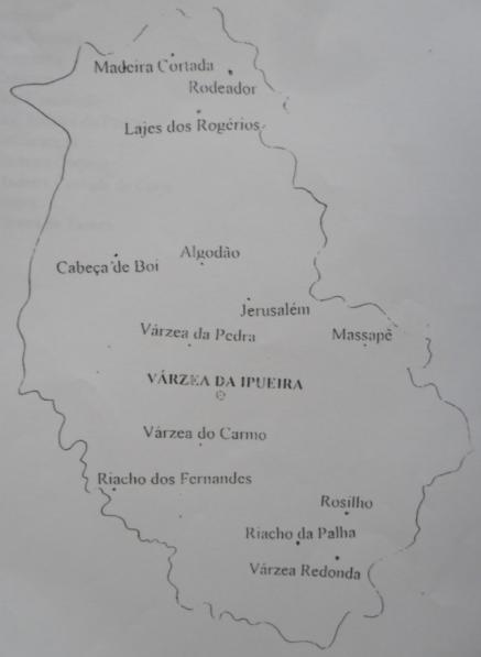 Mapa do Distrito de Várzea da Ipueira.