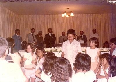 Imagem dos pastores no altar da Igreja Evangélica Congregacional de Boa Viagem, em 1982.