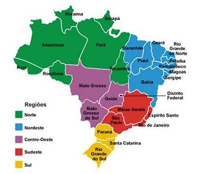 Mapa das regiões da República Federativa do Brasil.